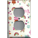 Wall Outlet Cover in Little Girls Fantasy Unicorns Rainbows Handmade- Simply Chic Gal