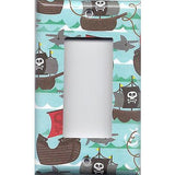 Single Rocker Decora GFI Outlet Cover in Pirate Ships and Sharks Boys Room Handmade- Simply Chic Gal