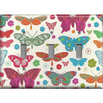 Triple Toggle Light Switch Cover in Hippie 60's Butterflies on Light Cream- Simply Chic Gal