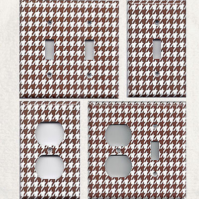 Chocolate Brown & White Houndstooth Light Switchplates & Outlet Covers- Simply Chic Gal