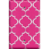 Single Blank Cover in Hot Pink & White Quatrefoil Lattice Print
