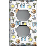 Wall Outlet Plate Cover in Summer Beach Theme Sail Boats, Sea Shells