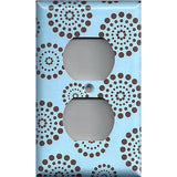Light Blue & Chocolate Brown Starburst Polka Dots Fireworks Switchplates/Outlets - Simply Chic Gal