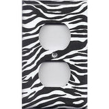 Wall Outlet Plate Cover in Zebra Stripes Black & White Animal Print