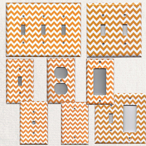 Orange & White Chevron Print Handmade Light Switch Plates & Wall Outlet Covers- Simply Chic Gal