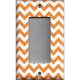 Single Rocker Decora GFI Outlet Cover in Orange & White Chevron Print Handmade- Simply Chic Gal