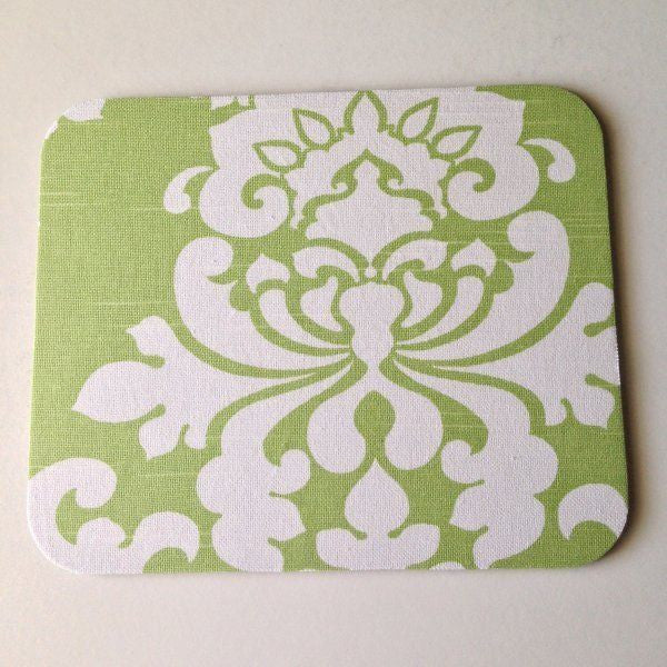 Light Celery Green and White Damask Mouse Pad High Quality Office Desk Decor - Simply Chic Gal