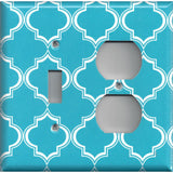 Combo Light Switch and Outlet Cover in Bright Blue and White Quatrefoil Handmade- Simply Chic Gal