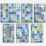 Blue & Green Tile Squares Art Deco Hand Made Light Switch Covers & Outlet Covers