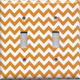Double Toggle Light Switch Plate Cover in Orange & White Chevron Print Handmade- Simply Chic Gal
