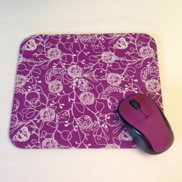 Violet Purple Plum and White Flowers Floral Mouse Pad Office Desk Decor - Simply Chic Gal