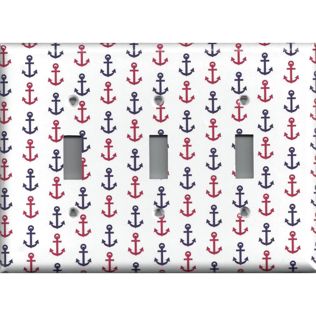Red & Navy Blue Nautical Anchors Beach House Triple Toggle Light Switch Cover - Simply Chic Gal