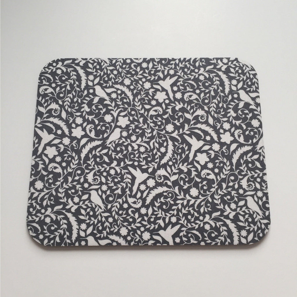 Mousepad in Charcoal Grey and White Hummingbirds and Floral Mouse Pad - Simply Chic Gal