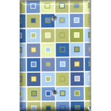 Blue & Green Tile Squares Art Deco Single Blank Cover