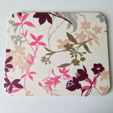 Ivory and Gray Pink Olive Peach Plum Floral Stems Mouse Pad High Quality - Simply Chic Gal