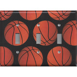 Basketball Sport Theme Kids Room Decor Man Cave Triple Toggle Light Switch Cover