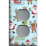 Wall Outlet Plate Cover in Santa Claus Sleigh & Rudolph Christmas Decor