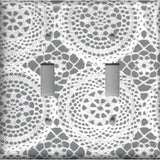 Grey/Gray and White Victorian Lace Doilies Light Switch Covers & Outlet Covers - Simply Chic Gal