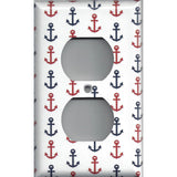 Red & Navy Blue Nautical Anchors Beach House Wall Outlet Cover - Simply Chic Gal