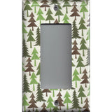 Single Rocker Decora GFI Outlet Cover in Pine Tree Forest Rustic Log Cabin Theme
