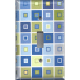 Blue & Green Tile Squares Art Deco Single Toggle Light Switch Cover