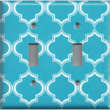 Double Toggle Light Switch Plate in Bright Blue and White Quatrefoil Handmade- Simply Chic Gal