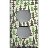 Wall Outlet Plate Cover in Pine Tree Forest Rustic Log Cabin Decor