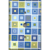 Blue & Green Tile Squares Art Deco Cable Jack Cover