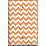 Single Blank Cover in Orange & White Chevron Print Handmade- Simply Chic Gal