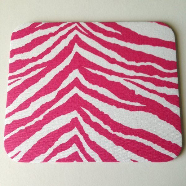Hot Pink and White Zebra Animal Print Mouse Pad High Quality Office Desk Decor - Simply Chic Gal
