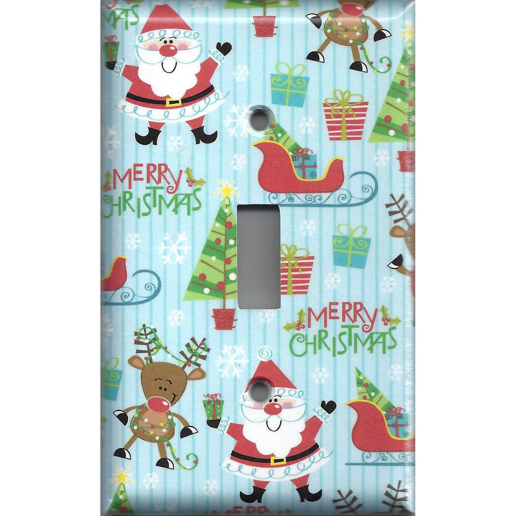 Single Toggle Light Switch Cover in Santa Claus Sleigh & Rudolph Christmas Decor