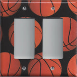 Basketball Sports Theme Kids Room Decor Man Cave Basketballs Double Rocker Decora GFI Outlet Cover
