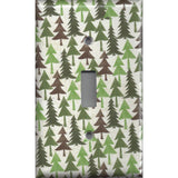 Single Toggle Light Switch Cover in Pine Tree Forest Rustic Log Cabin Decor