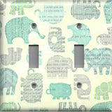 Baby Boy Elephant Nursery Decor Double Toggle Light Switch Cover