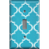 Single Light Switch Cover in Bright Blue and White Quatrefoil Handmade- Simply Chic Gal