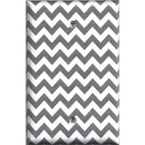 Single Blank Cover in Silver Charcoal Gray Chevron Print