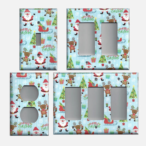 Santa Claus Sleigh & Rudolph Merry Christmas Light Switch Covers & Outlet Covers
