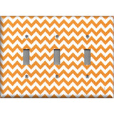 Triple Toggle Light Switch Plate Cover in Orange & White Chevron Print Handmade- Simply Chic Gal
