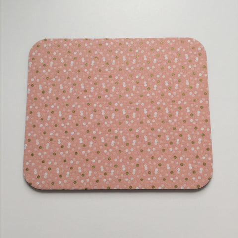 Mousepad in Peachy Pink Metallic Gold and White Confetti Dots Mouse Pad - Simply Chic Gal