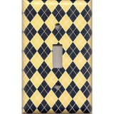 Single Toggle Light Switch Cover in Yellow & Navy Blue Argyle Diamonds Handmade- Simply Chic Gal