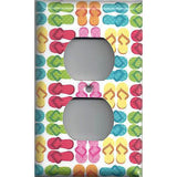 Small Multi Color Summer Flip Flops Hand Made Light Switch Plates/Outlet Covers - Simply Chic Gal