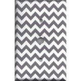 Cable Jack Cover in Silver Charcoal Gray Chevron Print