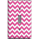 Single Toggle Light Switch Cover in Hot Pink Chevron Zig Zag Print