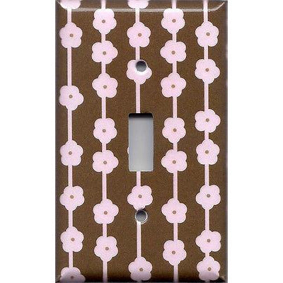 Single Light Switch Cover in Brown & Light Pink Flowers Floral Ribbons Handmade- Simply Chic Gal