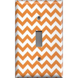 Single Toggle Light Switch Plate Cover in Orange & White Chevron Print Handmade- Simply Chic Gal