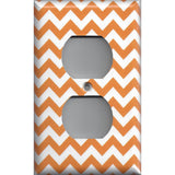 Wall Outlet Plug Cover in Orange & White Chevron Print Handmade- Simply Chic Gal