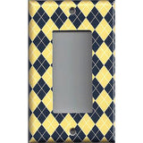 Single Rocker Deocra GFI Outlet Cover in Yellow & Navy Blue Argyle Diamonds Handmade Simply Chic Gal