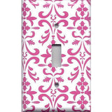 Single Toggle Light Switch Cover in Hot Pink Damask Filigree Scrolls Handmade- Simply Chic Gal