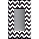 Black Chevron Pattern Single Rocker Decora GFI Outlet Cover- Handmade Home Decor - Simply Chic Gal