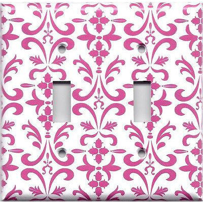 Double Toggle Light Switch Cover in Hot Pink Damask Filigree Scrolls Handmade- Simply Chic Gal